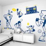 Трафареты для стен в декоре спальни для мальчика