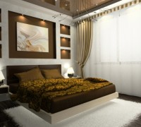 Interior of comfortable bedroom in brown color. Photo on wall was made by me, I uploaded model's release